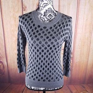 🍾Hinge Gray Crew Neck Polka Dot Sweater